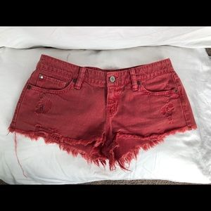 Ralph Lauren distressed red denim jean shorts